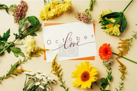 "flat lay with wildflowers and cards with ""october love"" inspiration on beige backdrop"