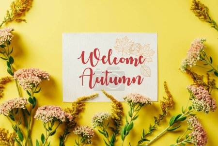"flat lay with beautiful wildflowers and card with ""welcome autumn"" lettering on yellow backdrop"