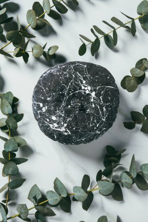 top view of black pumpkin with paint splatters arranged with eucalyptus leaves, halloween decoration
