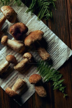 top view of fresh picked boletus edulis mushrooms on newspaper and fern on wooden table