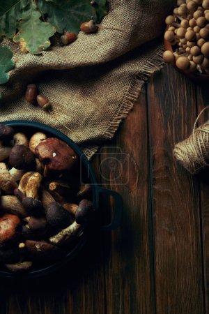Draufsicht auf frische rohe natürliche Pilze, Seil und Sacktuch auf Holztisch