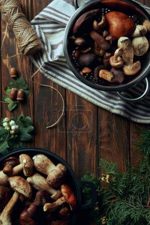 Blick von oben auf verschiedene leckere rohe Pilze in Pfannen und Seil auf Holztisch
