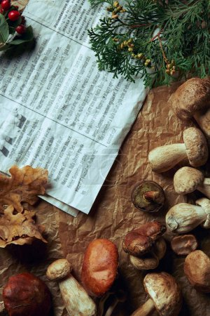 top view of fresh assorted edible mushrooms and newspaper