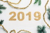 top view of 2019 year sign made of golden glitters, garlands and pine branches on white backdrop