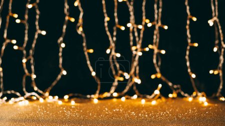 Photo for Sparkling sequins and garland light, christmas concept - Royalty Free Image