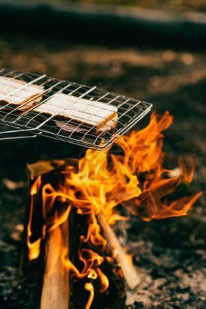 two sandwiches cooking on grill grate over fire