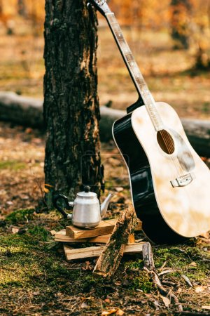 metallic kettle on pile of firewood and acoustic guitar on autumnal background