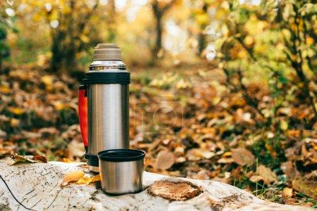 Photo pour Thermos de camping métallique sur beau fond automnal - image libre de droit