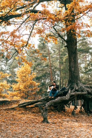 Photo for Adult male playing acoustic guitar sitting on tree in park - Royalty Free Image