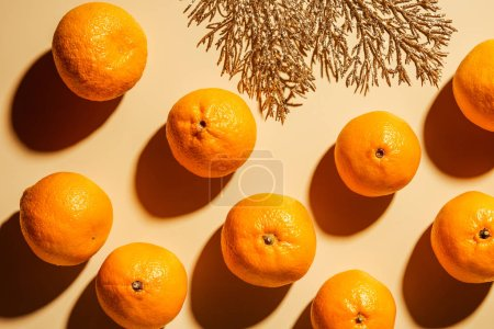 Photo for Flat lay with wholesome mandarins and decorative golden twig on beige background - Royalty Free Image