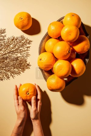 Cropped shot of woman holding tangerine on beige background with metal bowl and decorative twig