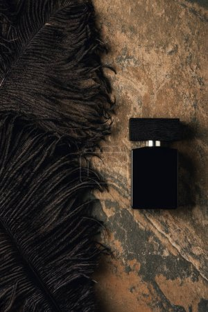 top view of perfume bottle and decorative black feathers on brown weathered surface