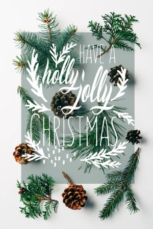 """flat lay with green branches and pine cones arranged on white backdrop with """"have a holly jolly christmas"""" inspiration"""
