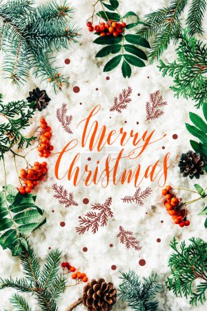 "flat lay with winter arrangement of pine tree branches, cones and sea buckthorn on white cotton wool backdrop with ""merry christmas"" lettering"