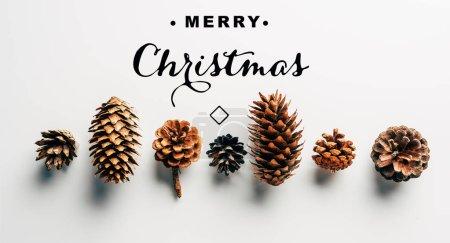 Photo pour Vue de dessus des pommes de pin disposées sur fond blanc avec inscription «joyeux Noël» - image libre de droit