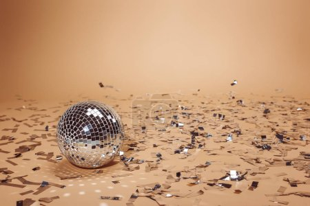 shiny silver disco ball and falling confetti on beige