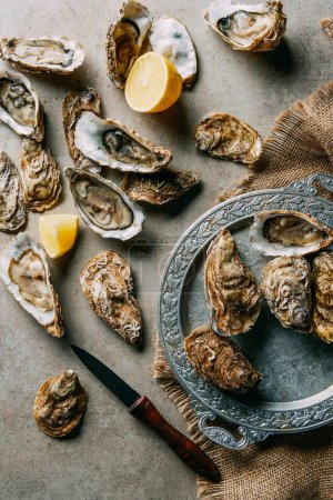 flat lay with oysters, lemon, knife and sack cloth on grey surface