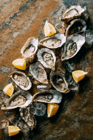 Photo for Food composition of oysters, lemon pieces and ice on grungy tabletop - Royalty Free Image