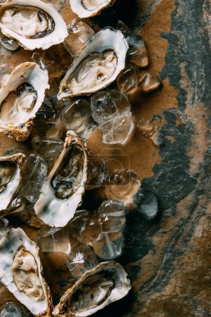 top view of oysters and ice cubes on grungy surface