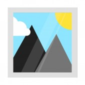 Photo gallery icon sign pictogram flat style design vector illustration isolated on white background Sun and mountains on it travel symbol