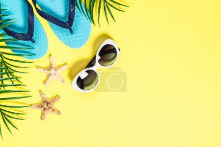 Summer tropical background top view.