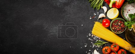 Photo for Food cooking background. Italian food, pasta ingredient. Top view on black stone table. - Royalty Free Image