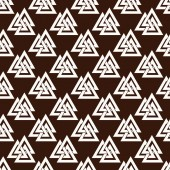 Seamless pattern from the crossed triangles.  Endless texture for textile design. Sacred sign of Vikings - three triangles. Triksel. Sacral symbol. Norman culture. Trinity.  Vector color background.