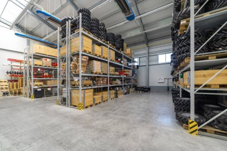 Factory warehouse spare parts. Storage and distribution of components