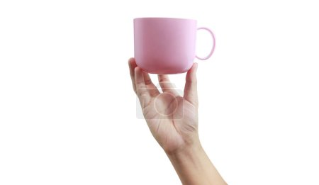 Photo for Plastic cup in a hand holding - Royalty Free Image