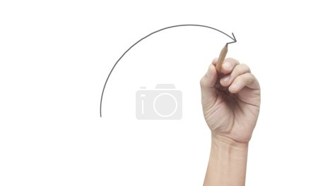 Photo for Hand drawing a chart, graph stock of growth - Royalty Free Image