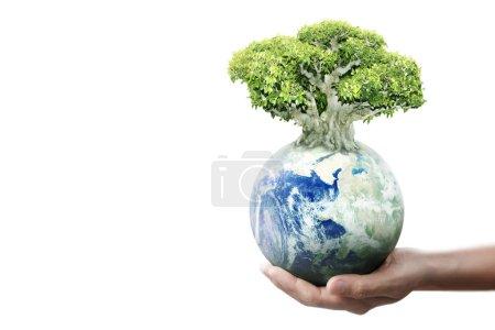Photo pour Globe, terre dans la main humaine, tenant notre planète rayonnante. Image de la Terre fournie par Nasa - image libre de droit