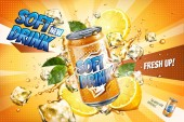 Soft drink ads with sliced lemon and floating ice cubes in 3d illustration