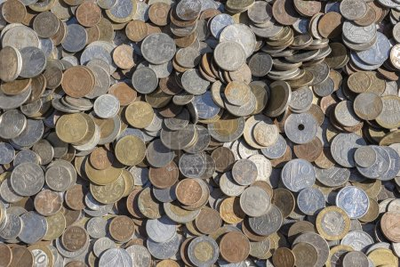 Photo for Old vintage coins background for sale for tourists in the Ukrainian market on the street in Kyiv, Ukraine. Close up, top view - Royalty Free Image