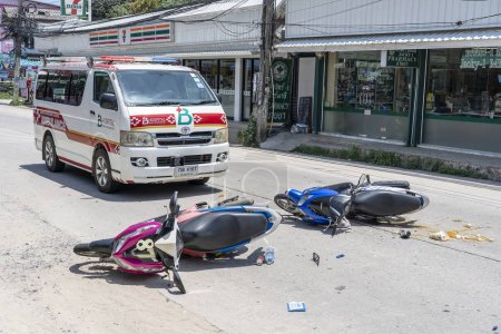 Photo for KOH PHANGAN, THAILAND - MAY 19, 2019 : Motorcycle accident that happened on the road at tropical island Koh Phangan, Thailand . Traffic accident between a motorcycle on street - Royalty Free Image