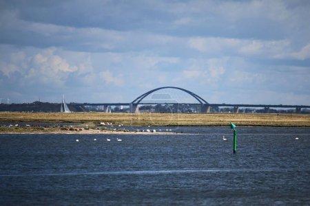 Photo pour Large bridge to a island in north germany - image libre de droit