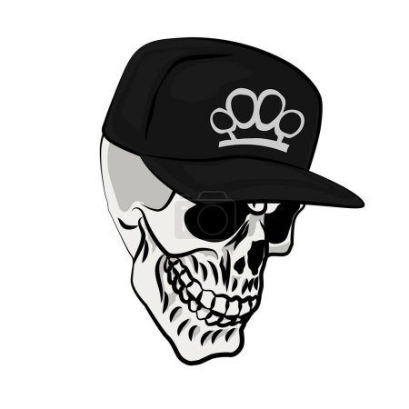 Illustration for Skull in a black cap with brass knuckles - Royalty Free Image