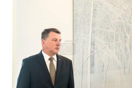 Photo pour RIGA, LATVIA - JANUARY 21ST, 2019: Raimonds Vejonis, President of Latvia meeting with Arturs Krisjanis Karins, candidate Prime Minister of the Union of Parties Jaun Vienotba. - image libre de droit