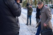 30.01.2019. RIGA, LATVIA. Nils Usakovs, Mayor of Riga City Council coming out of home with his wife Iveta Usakova-Strautina, after Officers from the Corruption Prevention Bureau (KNAB) carried out a search at his office and home.