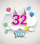 32 Anniversary Celebration Design with clouds and balloons confetti Vector template elements for your sixty eight years birthday celebration party