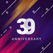 39 anniversary sign on violet background with orange and pink stripes vector illustration