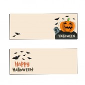 Banners vector Halloween with pumpkins and bat Illustration with lettering happy halloween and black bat Holiday vector design