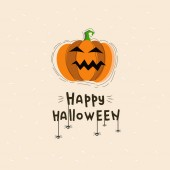 Happy Halloween vector illustration with lettering and pumpkin Happy Halloween postcard with orange pumpkin Vector font design Doodle design vector Texture Halloween font