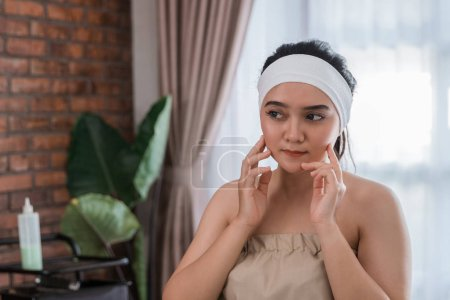 beauty woman self treatment at home