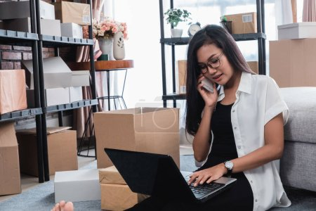 pretty asian woman receiving online order