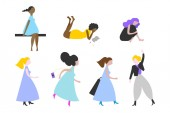 Women multi ethnic flat vector characters set