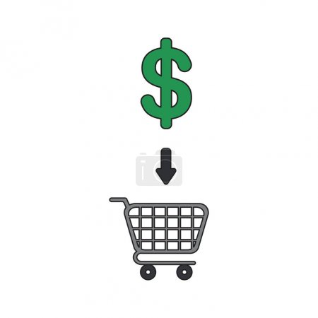 Vector icon concept of dollar symbol into shopping cart.
