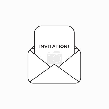 Vector icon concept of open envelope with invitation word writte