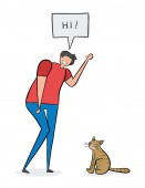Adam says hi to the cat hand-drawn vector illustration Black o