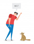Man says hi to the cat hand-drawn vector illustration