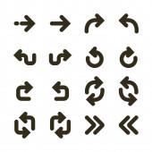Line icons of arrows Arrow symbol icons